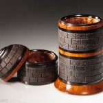 Tower 3 box with tier 1 open - African Blackwood, Cocobolo and Thuya burl- Steven Kennard 2015