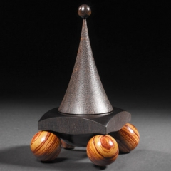 "Dilemma Box African Boxwood, Tulipwood approx 6"" high x 4"" square Sold  Steven Kennard"