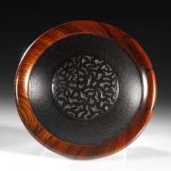 Lost Orchard lid - African Blackwood, Cocobolo. Approximately 3.25″ in diameter and 3″ high. Steven Kennard