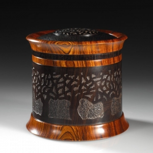 Lost Orchard  -African Blackwood, Cocobolo. Approximately 3.25″ in diameter and 3″ high. $1995 contact me for purchase information Steven Kennard