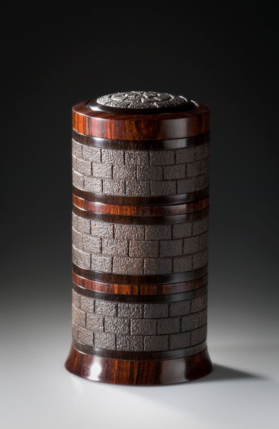 Tower II African Blackwood, Thuya Burl and Cocobolo Approximately 3″ in diameter and 4.75″ high - Steven Kennard SOLD