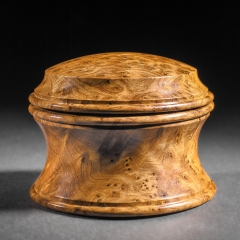 English Box – Thuya burl - Approximately 4″ in diameter and 3″ high.- Steven Kennard