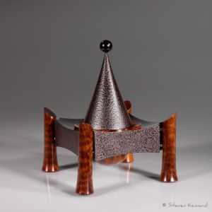 """Hat in a Box"" African blackwood, snakewood, stainless steel.  Not for Sale - Steven Kennard"