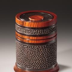 Celebration 3 -  African blackwood, cocobolo  Height: 4″ Diameter: 3 3/8″– Steven Kennard