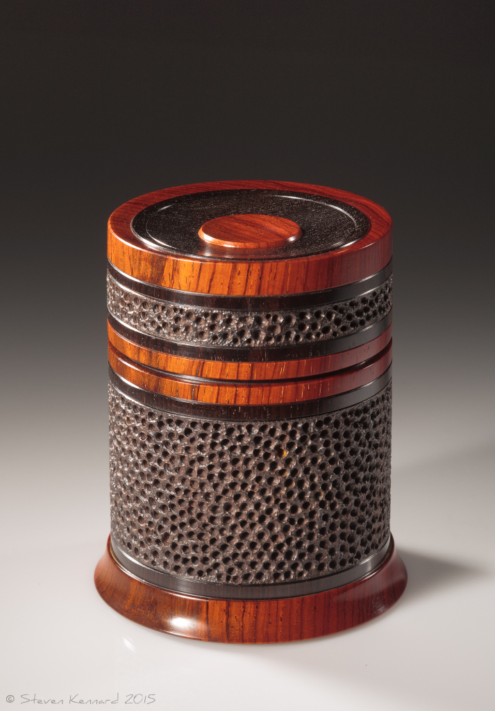 Celebration 3 -  African blackwood, cocobolo  Height: 4″ Diameter: 3 3/8″– $1950 contact me for purchase information Steven Kennard