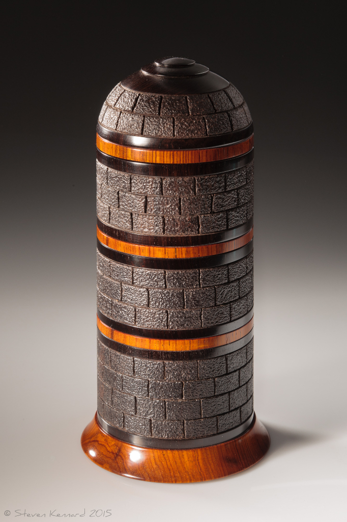 Tower Box 3 - African blackwood, cocobolo and thuya root burl. Approximately 3 3/4″ in diameter and 7.5″ high. $2300 - contact for purchase information Steven Kennard