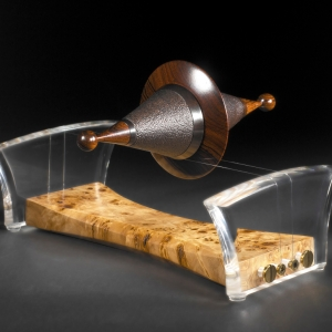 """Wired"" African Blackwood, Poplar Burl, and Cocobolo with mother of pearl, perspex and guitar strings $2100 - contact me for purchase information - Steven Kennard"