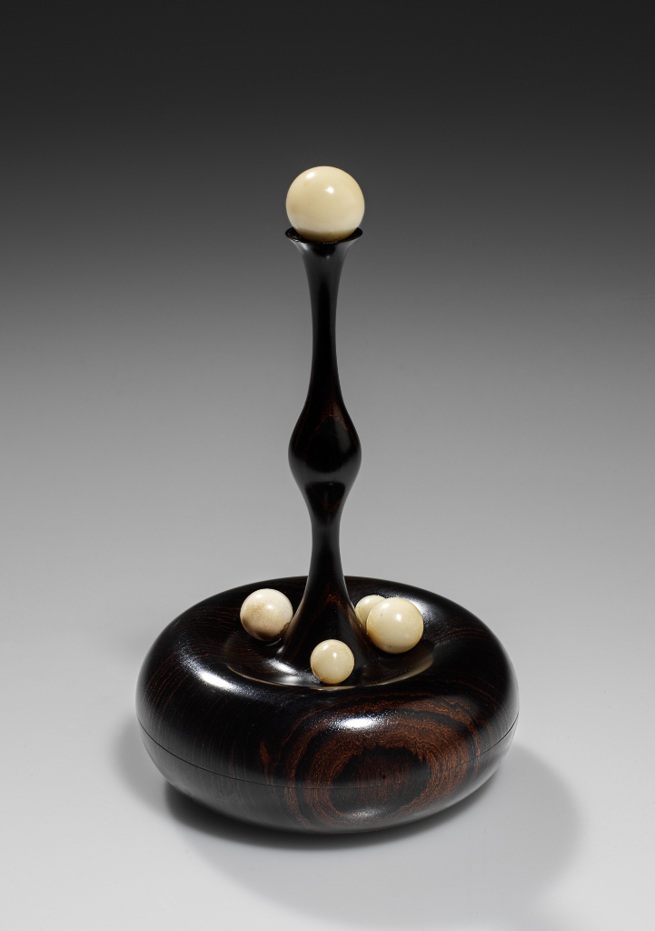 "Birthing Box- African blackwood, tagua nut 'pearls' approx 3 1/4"" diameter, 4 1/2"" high - Steven Kennard - SOLD please contact me for information if you would like this piece commissioned."
