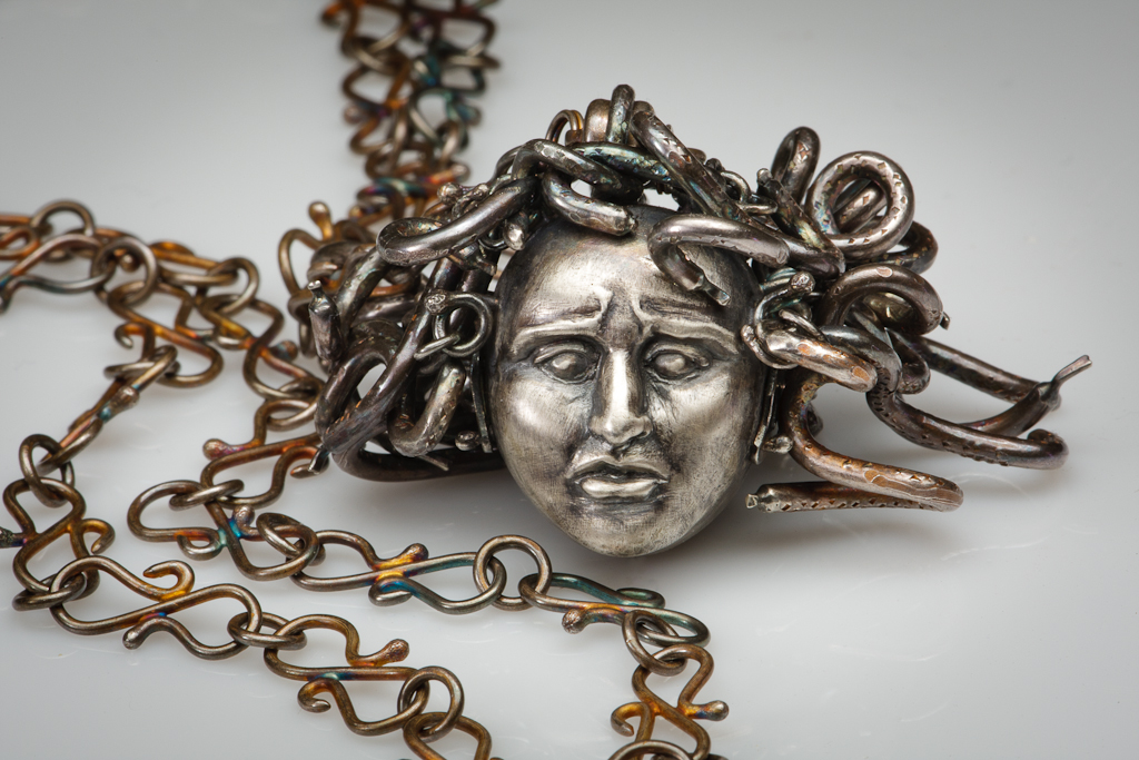 """Medusa""  pendant created by Elizabeth Goluch in collaboration, May 2010.  Sterling Silver"