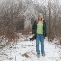 Ellie in front of the derelict chapel  - Steven Kennard 2012